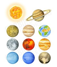 Watercolor Solar System Planets Universe. by CorbiesWingColors