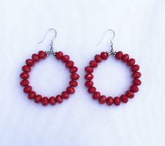 A personal favorite from my Etsy shop https://www.etsy.com/listing/477360331/cherry-red-beaded-hoop-earrings