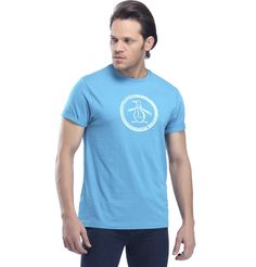 PERRY ELLIS - DISTRESSED CIRCLE LOGO CEYLON  Some colors and styles can never go out of vogue. Try this round neck polo T-shirt on preferably dark blue or black jeans for a relaxed look.