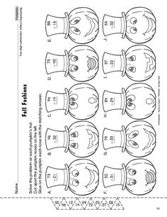 Math Worksheet: 2-digit addition and subtraction without