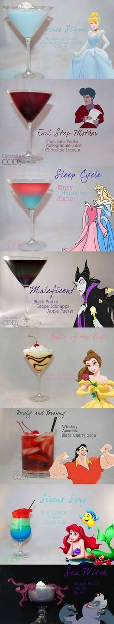 Disney princess and Disney villain inspired drinks - pure. brilliance.
