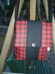 Sophisticated red and black plaid. Handmade in Florida by BLACKBEARBAGS