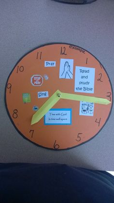 Clock made from construction paper.  I attached the hands with a brad.  I used this with the Bible story of Mary and Martha.  Time spent with God is time well spent.
