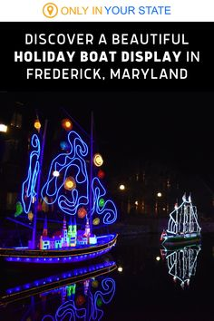 This winter, have some festive holiday fun in Frederick, Maryland. A family-friendly activity that kids and adults alike will love, Sailing Through The Solstice is a special event with beautiful boats decorated in colorful Christmas lights. Christmas Light Displays, Holiday Lights, Christmas Lights, Holiday Fun, Festive, Winter Fun, Winter Travel, Linear Park, Frederick Maryland