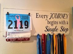 Race bib running medal holder and display running gift Every Journey begins with a single step on Etsy, $38.00