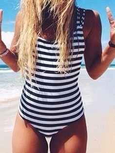 Monochrome Stripe Print Stappy Back Swimsuit