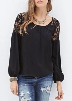 Lace Splicing Round Neck Black T Shirt