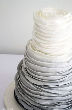 Modern wedding cake with gray ombre ruffles