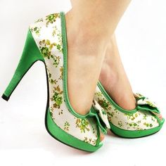 #shoes #green #heels #bows by terri