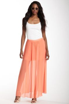 Lavender Brown Solid Maxi Skirt