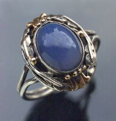 SIBYL DUNLOP 1889-1968 Attrib.  Arts & Crafts Ring   Silver Gold Chalcedony  H: 1.9 cm (0.75 in)   British, c.1930