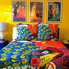 I remain sad that yellow is one of few colors my husband does not like.  We have this bedspread and are moving to a new apartment with dark wood floors.  I think yellow would be glorious on the bedroom walls but so far I've not managed to sell him on the idea.