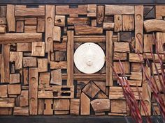 Mosaic Wood Wall Panel - love the wood, but not the image in the middle