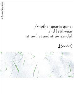 snow, grass, Basho, haiku