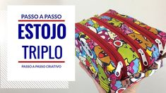 ESTOJO TRIPLO - Passo a Passo FÁCIL - YouTube Skirt Patterns Sewing, Purse Patterns, Sewing Patterns Free, Sewing To Sell, Sewing For Kids, Quilting For Beginners, Sewing For Beginners, Sewing Basics, Sewing Hacks