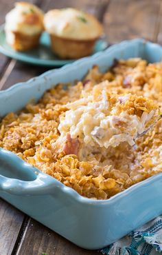 Funeral Potatoes with Ham - this casserole is potato and sour cream heaven!