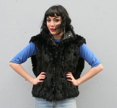 Shaggy Black Fur & Leather vintage 80s Vest from Lucky Vintage