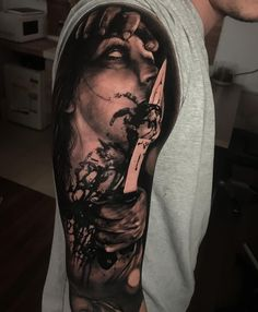 Tattoo artist Damon Holleis , color and black and grey portrait tattoo realism | Sydney, Australia