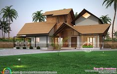 Traditional laterite Kerala home wit nadumuttam Green House Design, 2 Storey House Design, Modern House Design, Village House Design, Kerala House Design, Kerala Traditional House, Traditional Homes, House Roof, Farm House