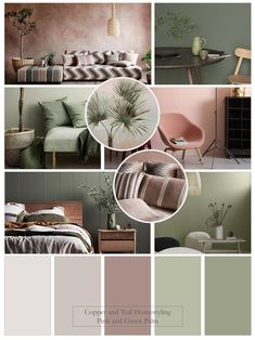 Green Bedroom Colors, Sage Green Bedroom, Bedroom Colour Palette, Room Wall Colors, Bedroom Interior Colour, Pink Green Bedrooms, Pink Bedroom Walls, Green Colour Palette, Sage Living Room