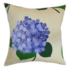 Cotton pillow with hydrangea motif. Made in the USA.   Product: PillowConstruction Material: Cotton cover and 95/...
