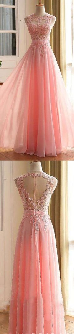 Charming Long Prom Dress, Appliques Pink Prom Dress,Chiffon A LIne Prom Dress,Long Evening Dress,Women Formal Gown,Prom Dress