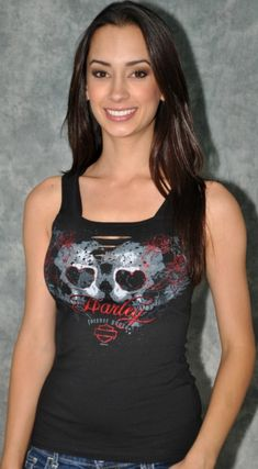 Harley-Davidson® Womens Skull Rocker Black Sleeveless Tank