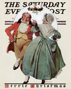 """Christmas Dance Merrie Christmas"" (Couple Dancing Under Mistletoe) This Norman Rockwell painting, appeared on the cover of The Saturday Evening Post published December Norman Rockwell Prints, Norman Rockwell Paintings, Christmas Dance, Christmas Carol, Vintage Christmas, Christmas Couple, Victorian Christmas, Christmas Scenes, Primitive Christmas"