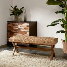 Shop The Curated Nomad Baker Brown Woven Bench - Overstock - 20455072 Coastal Furniture, Living Room Furniture, Modern Furniture, House Furniture, Furniture Deals, Furniture Vintage, Furniture Outlet, Furniture Movers, Affordable Furniture