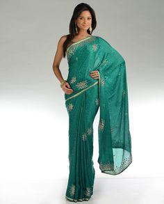 Embellished Teal Green Jacquard Sari - nice color!