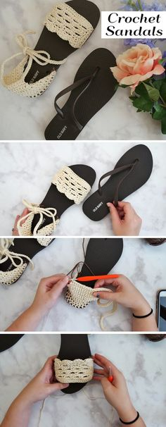 How to Crochet Perfect Sandals - Design Peak Crochet Sandals, Crochet Boots, Crochet Slippers, Diy Crochet, Crochet Crafts, Crochet Clothes, Crochet Projects, Crochet Designs, Crochet Patterns