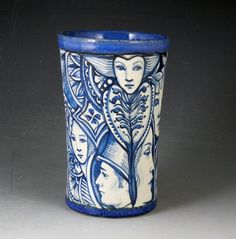 Blue and white one of a kind ceramic story vase by PSPorcelain