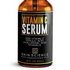 SKIN SCIENCE 1 BEST Vitamin C Serum for Face Guaranteed  ORGANIC VEGAN with 20 VITAMIN C  E  11 HYALURONIC ACID  FERULIC ACID Reverses Sun Damage Fades Age Spots Reduces Wrinkles 2 oz * Continue to the product at the image link.