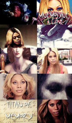 GREEK MYTHOLOGY MEME ® MINOR DEITIES & TITANS 13/30  ∟Laverne Cox as M N E M O S Y N E  The personification of memory, Mnemosyne was the daughter of Gaia and Uranus, and the mother of the nine Muses by Zeus. In Hesiod's Theogony, kings and poets receive their powers of authoritative speech from their possession of Mnemosyne and their special relationship with the Muses. Mnemosoyne also presided over a pool in Hades, the counterpart to the river Lethe.