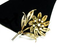 New Listings Daily - Follow Us for UpDates -  Sterling Silver Flower Brooch  with Gold Overlay - Filigree with Pearls - Signed Sterling - #Vintage Daisy Flower offered by #TheJewelSeeker on Etsy  Style:  Classic, beautif... #vintage #jewelry #teamlove #etsyretwt #ecochic #thejewelseeker
