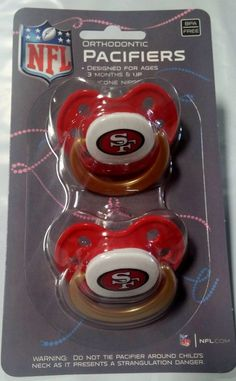 San Francisco 49ers Baby Infant Pacifiers NFL NEW - 2 Pack   GREAT SHOWER GIFT! #SanFrancisco49ers