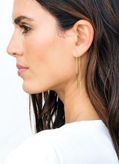 double drop bar earrings in gold.  gorjana