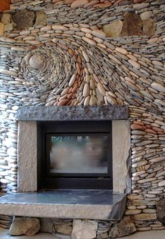 river rock fireplace. Not sure whether to place this in For the Home or Art. Beautiful It reminds me of Van Gogh's Starry Night