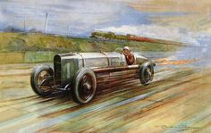 By Frederick Gordon Crosby. The aero-engined V12 Sunbeam of 18.3 litres made famous by Kenelm Lee Guinness at Brooklands in May 1922.