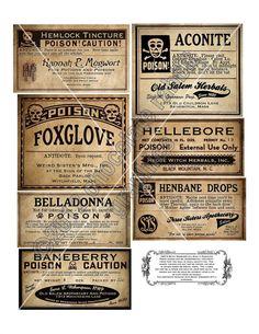 Vintage Gift Apotheker Potion Bottle Halloween Hexe Etiketten druckfähigen Digital Download Collage Sheet ClipArt Scrapbooking-Tags