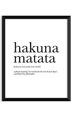Hakuna Matata definition, movie quotes, dictionary art print, office decor, minimalist poster, funny definition print, definition poster