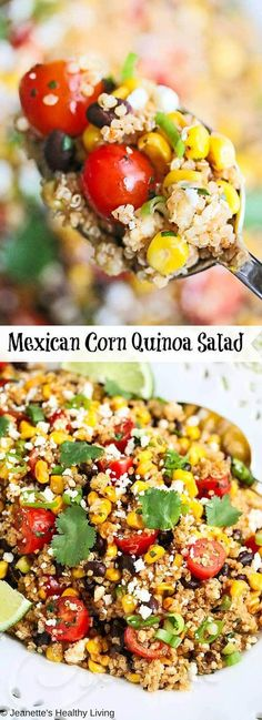 Mexican Corn Quinoa Salad - this festive summer salad is perfect for picnics and large gatherings. It's inspired by esquites, Mexican street corn ~ http://jeanetteshealthyliving.com