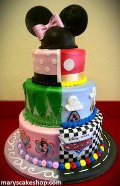 Boy & Girl Disney Cake... I will be SOO glad I repinned this idea!