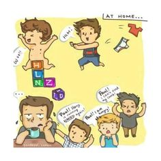 One Direction Cartoon Paul the Babysitter One Direction Fan Art, One Direction Cartoons, One Direction Drawings, One Direction Harry, One Direction Memes, Larry Stylinson, Cartoon Drawings, Boy Bands, First Love