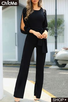 Outfit ideen Slit Sleeve Knotted Front Jumpsuits Watching a seed grow into a tree is just as wondrou Trajes Business Casual, Business Casual Outfits, Mode Outfits, Fashion Outfits, Womens Fashion, Fashion Clothes, Fashion Jewelry, Trend Fashion, Fashion Belts