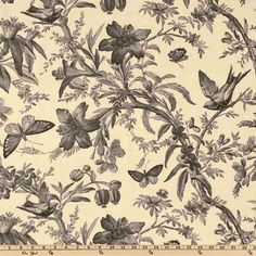 P Kaufmann Aviary Toile Ebony from @fabricdotcom  This fabric is screen printed on cotton, has a soil and stain repellent finish and is very versatile. Perfect for window accents (draperies, valances, and swags), bed skirts, duvet covers, toss pillows, slipcovers or be creative with tote bags and aprons too! Colors include black and grey on a cream background.