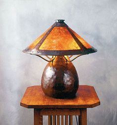 """[There's just something about these Arts and Crafts Bean Pot or Gourd Micah Shade Lamps - make my mouth water] Hammered copper """"Warty"""" lamp by Michael Ashford, Evergreen Studios."""
