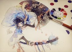 compliments to the artist. so b-e-a-u-t-i-ful ^^ Watercolor Artwork, Watercolor Illustration, Amazing Drawings, Art Drawings, Manga Art, Anime Art, You Draw, Copics, Character Illustration