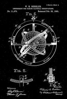 1895 - Nautical Navigation Instrument - W. H. Beehler - Patent Art Poster