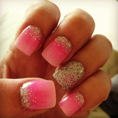 Silver half moon glitter nail art design on top of a gradient nail art in pink and white combination.
